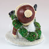 Snowman With Christmas Wreath Sparkly Figurine 3