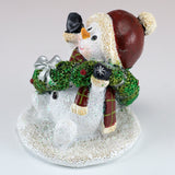 Snowman With Christmas Wreath Sparkly Figurine 4