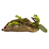 Mini Frogs On Leaf Boat Figurine 1