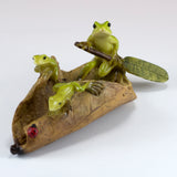 Mini Frogs On Leaf Boat Figurine 2