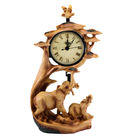 Elephants Faux Carved Wood Look Clock 1