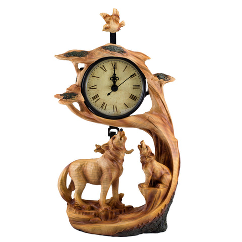 Wolf With Cub Howling Faux Carved Wood Look Clock