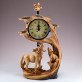 Wolf With Cub Howling Faux Carved Wood Look Clock 3