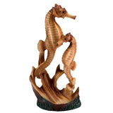 Seahorse Couple Faux Carved Wood Look Figurine 1