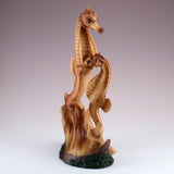 Seahorse Couple Faux Carved Wood Look Figurine 2