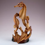 Seahorse Couple Faux Carved Wood Look Figurine 3