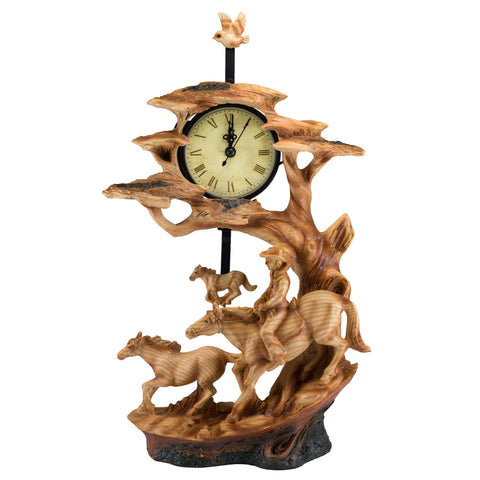 Cowboy On Horse With Foal Faux Carved Wood Clock 1