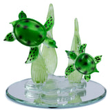 Hand Blown Glass Sea Turtles Figurine On Beveled Glass 1