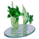 Hand Blown Glass Sea Turtles Figurine On Beveled Glass 4
