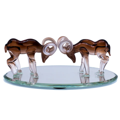 Hand Blown Glass Fighting Rams Figurine On Beveled Mirror 2