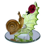 Hand Blown Glass Snail With Ladybug Figurine On Beveled Mirror 1