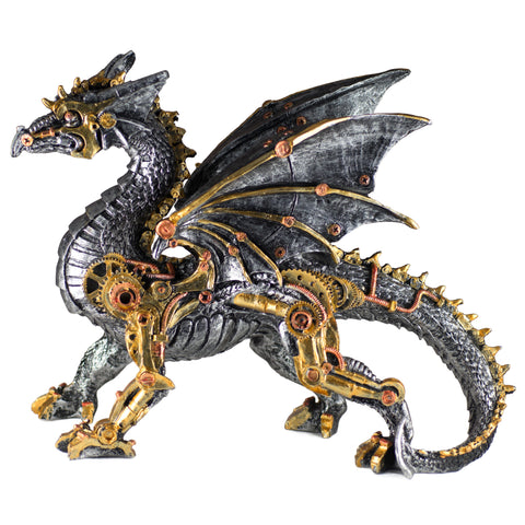 Steampunk Dragon Silver and Gold Tone Figurine 1