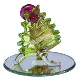 Hand Blown Glass Snail With Ladybug Figurine On Beveled Mirror 4