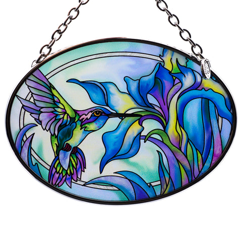 Hummingbird On Iris Glass Suncatcher By AMIA 1