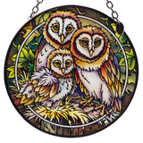 Owl Family Hand Painted AMIA Glass Suncatcher 1