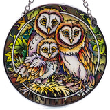 Owl Family Hand Painted AMIA Glass Suncatcher 2