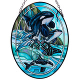 Orca Whales Hand Painted AMIA Glass Suncatcher1