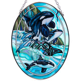 Orca Whales Hand Painted AMIA Glass Suncatcher 2