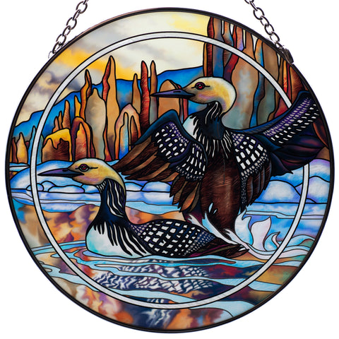 Loons Hand Painted AMIA Glass Suncatcher 1