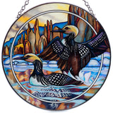 Loons Hand Painted AMIA Glass Suncatcher 2