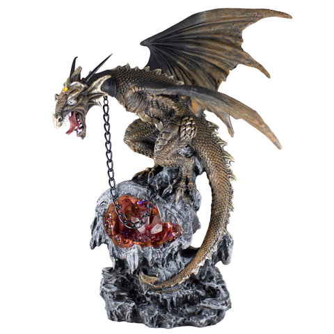 Chained Brown Dragon Guarding Crystals Figurine With LED Light 1