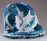 Blue Sparkly Mother Dragon With Baby Figurine Statue 2
