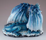 Blue Sparkly Mother Dragon With Baby Figurine Statue 4