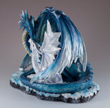 Blue Sparkly Mother Dragon With Baby Figurine Statue 5