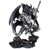 Black Dragon In Armor With Sword Figurine Statue 1