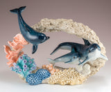Dolphin Family Swimming Through Coral Figurine 2