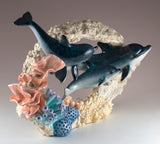 Dolphin Family Swimming Through Coral Figurine 4
