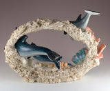 Dolphin Family Swimming Through Coral Figurine 5