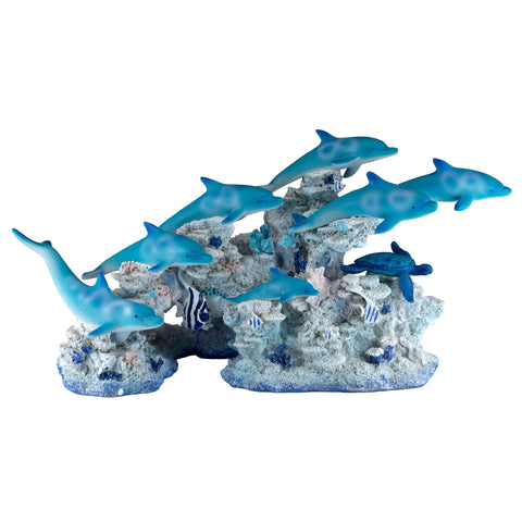 School of Dolphins With Sea Turtle On Coral Figurine 1