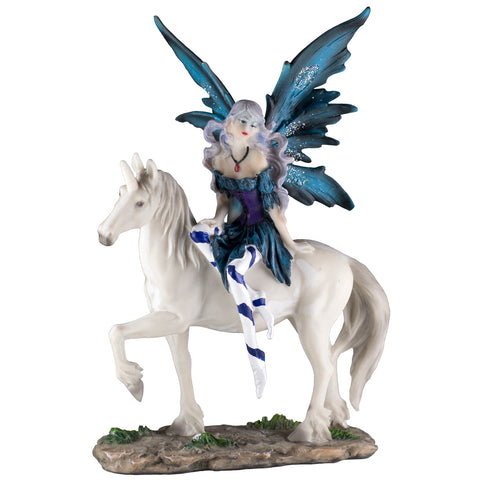 Blue Fairy On Unicorn Figurine 1
