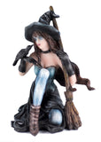 Witch With Raven Black Crow and Broom Figurine 2