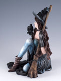 Witch With Raven Black Crow and Broom Figurine 3
