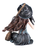 Witch With Raven Black Crow and Broom Figurine 4