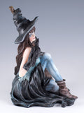 Witch With Raven Black Crow and Broom Figurine 5