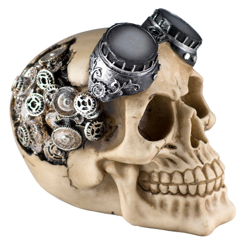 Steampunk Skull With Goggles and Gear Brain Figurine