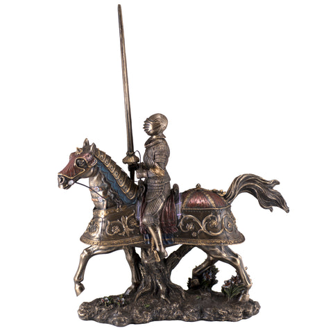 Medieval Armored Knight & Horse Figurine Cold Cast Bronze Statue