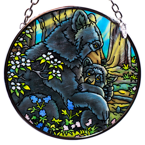 Bear With Cub Hand Painted AMIA Glass Suncatcher 1