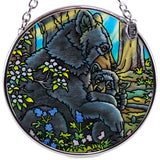 Bear With Cub Hand Painted AMIA Glass Suncatcher 2