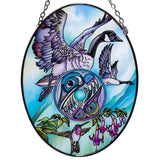 Canadian Goose Hummingbird Hand Painted AMIA Glass Suncatcher 1
