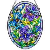 Dragonflies and Irises Glass Suncatcher By AMIA 2