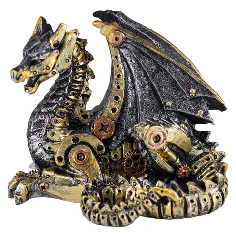 Steampunk Dragon Silver and Gold Colored Figurine 1
