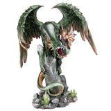Green Dragon Guarding Fairy Figurine