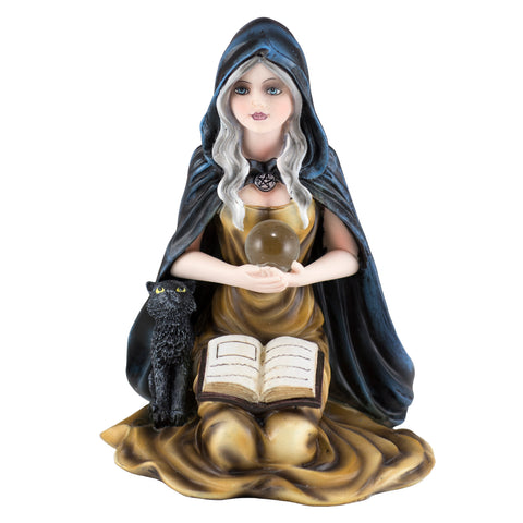 Witch Sorceress With Black Cat & Crystal Ball Figurine 1