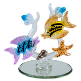 Hand Blown & Pressed Glass Fish Figurine On Mirror 1
