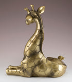 Giraffe Baby Calf Figurine Laying Brass/Bronze 3