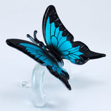 Hand Blown Glass Blue Butterfly Figurine 3